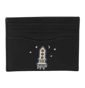 Coach 58715 Space Rocket Ship Black Leather Card Case Mini Wallet