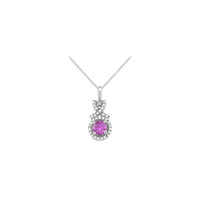 Purple Silver February Birthstone Amethyst with Cz Halo Pendant In 925 Sterling Silv Necklace Purple Silver February Birthstone Amethyst with Cz Halo Pendant In 925 Sterling Silv Necklace Image 1
