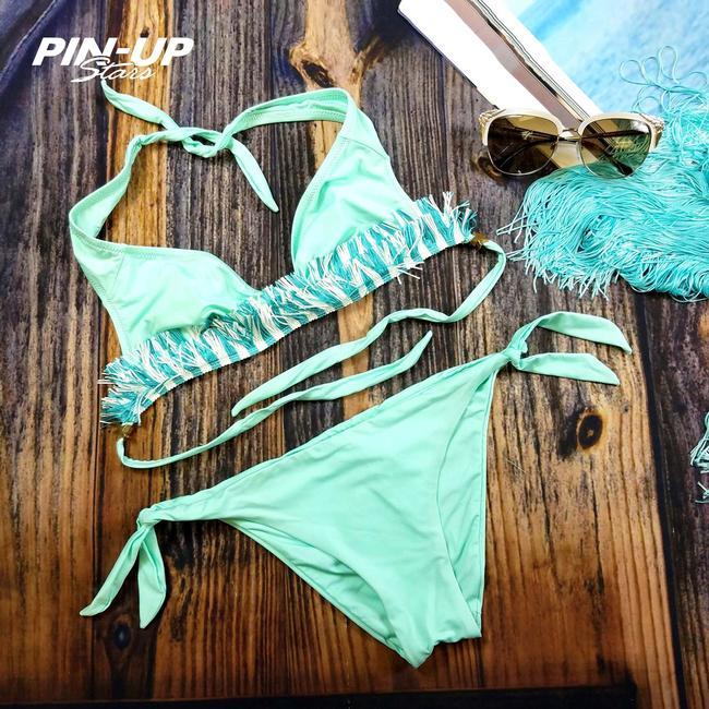 Pin-Up Stars New Women Fringe Triangle Two Piece Swimsuit Us S / Eu 42 Bikini Set
