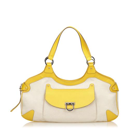 Preload https://item1.tradesy.com/images/salvatore-ferragamo-white-x-ivory-x-yellow-fabric-nylon-leather-others-shoulder-bag-23331975-0-0.jpg?width=440&height=440