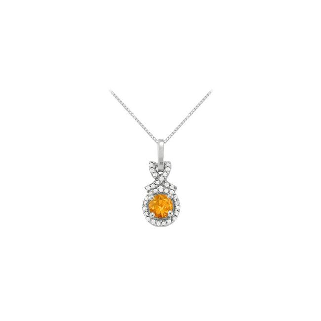 Yellow Silver November Birthstone Citrine with Cz Halo Pendant In Sterling Necklace Yellow Silver November Birthstone Citrine with Cz Halo Pendant In Sterling Necklace Image 1