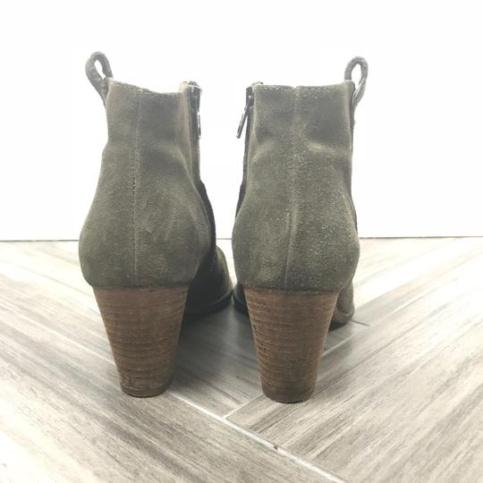 Madewell Suede Leather Stacked Heel Green Boots