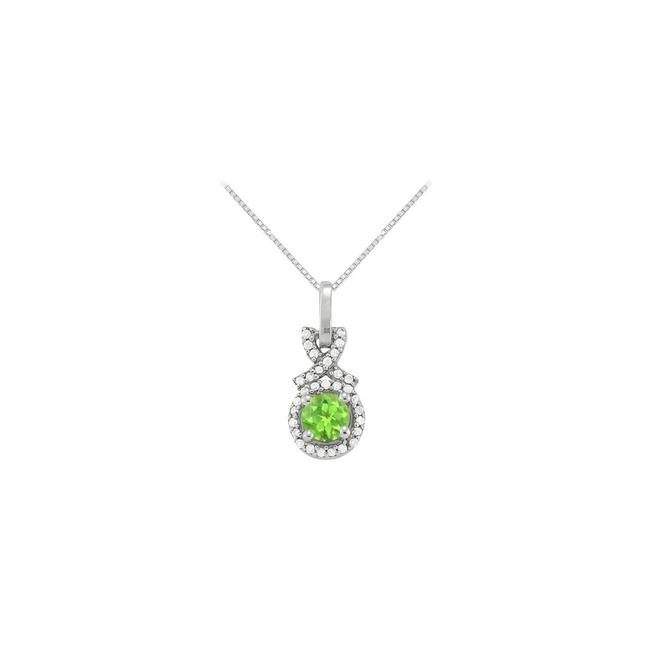 Green Silver August Birthstone Peridot with Cz Halo Pendant In 925 Sterling Necklace Green Silver August Birthstone Peridot with Cz Halo Pendant In 925 Sterling Necklace Image 1