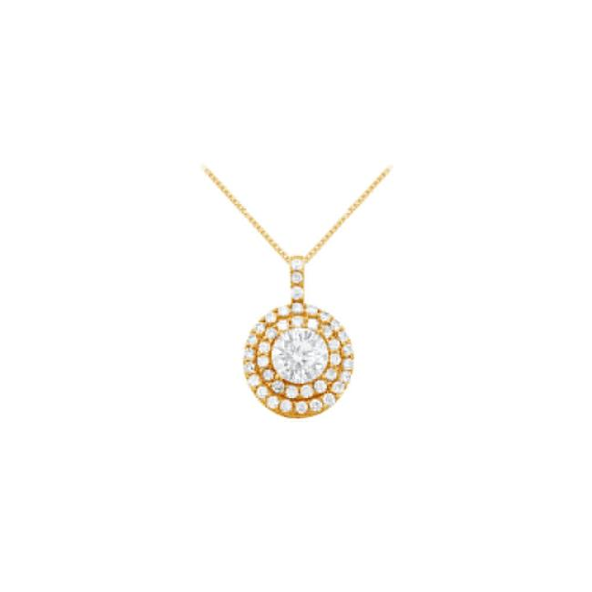 White Yellow Cubic Zirconia Halo Pendant Gold Vermeilsilver 2.50 Ct Tgw Necklace White Yellow Cubic Zirconia Halo Pendant Gold Vermeilsilver 2.50 Ct Tgw Necklace Image 1
