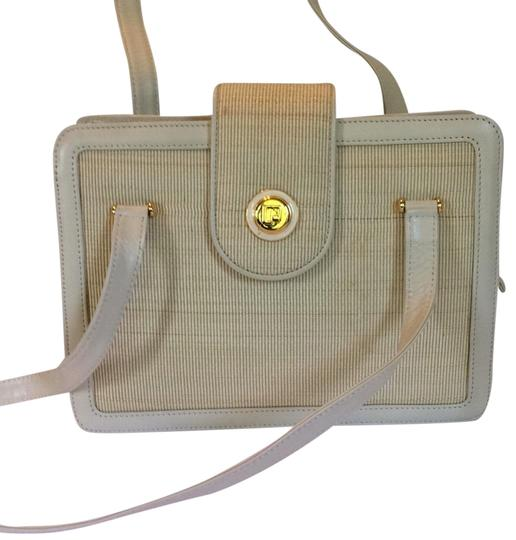 paco rabanne Leather Fabric Gold Hardware Front Flap Expandable Shoulder Bag