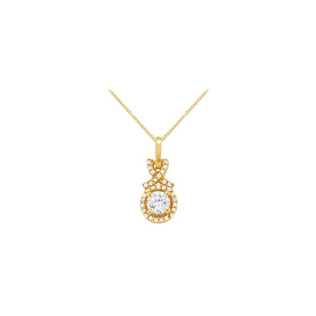 White Yellow April Birthstone Cubic Zirconia Halo Pendant Gold Vermeil Necklace White Yellow April Birthstone Cubic Zirconia Halo Pendant Gold Vermeil Necklace Image 1