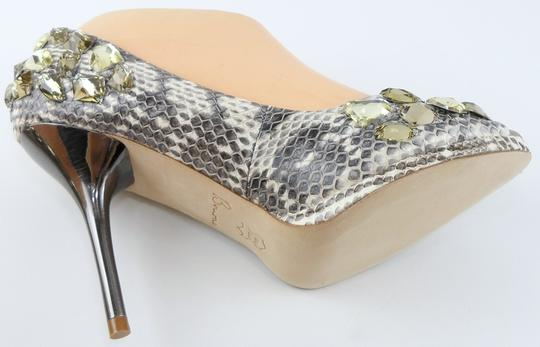 BORNE COLLECTION Snakeskin Jeweled Evening Eur 38 Natural Pumps