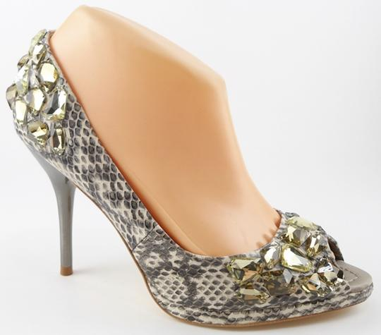 BORNE COLLECTION Snakeskin Jeweled Evening Natural Pumps