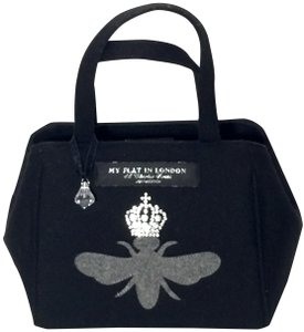 My Flat in London Sophisticated Whimsical Crystal Sparkle Satchel in Black