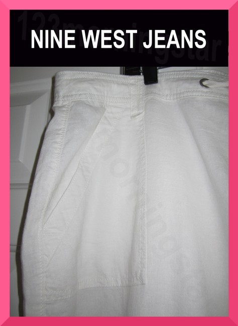 Nine West Drawstring At Waist Silvetone Grommets Patch/Flap Pockets Straight Color Relaxed Pants White