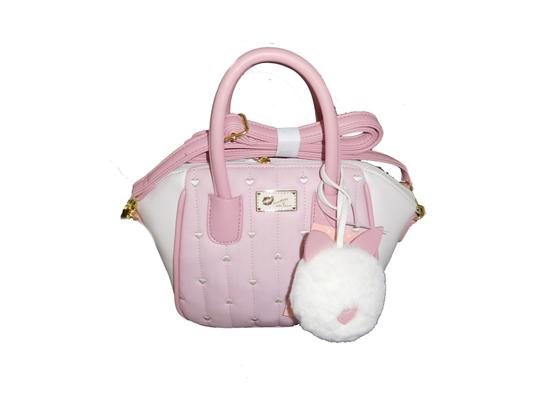 Betsey Johnson Cross Satchel in pink / bone