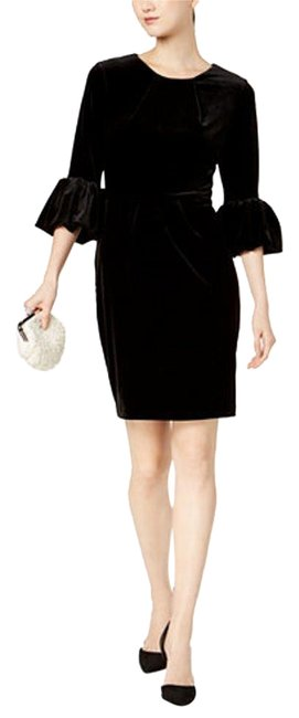 Item - Black Velvet Bishop Sleeve Sheath Short Cocktail Dress Size 8 (M)