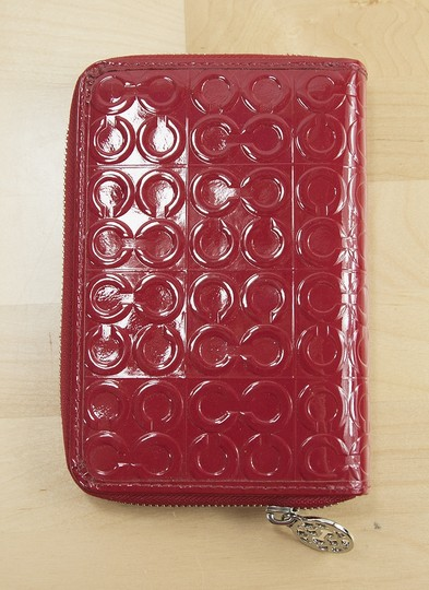 Coach Red Debossed Patent Leather Signature Planner