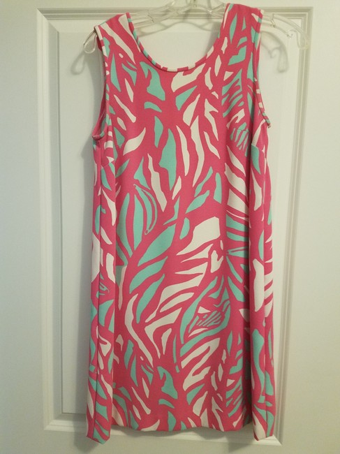 Lilly Pulitzer short dress Pink White Blue Shift Summer Spring Detail on Tradesy