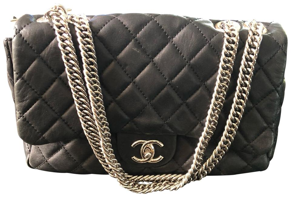 a9d388c89778c3 Chanel Washed Jumbo Bijoux Chain Flap Black Lambskin Leather ...