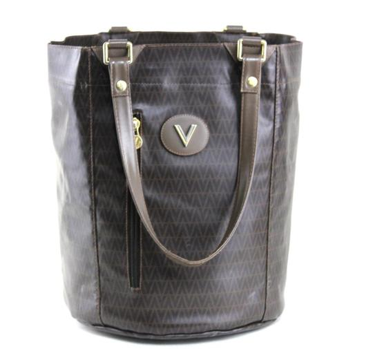 Preload https://item1.tradesy.com/images/valentino-vintage-pursedesigner-purses-shades-of-brown-v-logo-print-vinyl-and-leather-tote-23332270-0-0.jpg?width=440&height=440