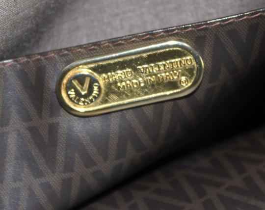 Valentino Design Tote/Shopper Style Mint Vintage Unique Early Style Tote in shades of brown 'V' logo print