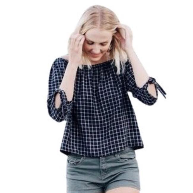 Madewell Top New Black & White Check