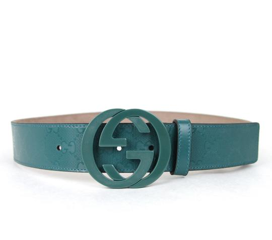 Gucci GUCCI Imprime Belt w/Interlocking G Buckle Teal 105/42 223891 4715