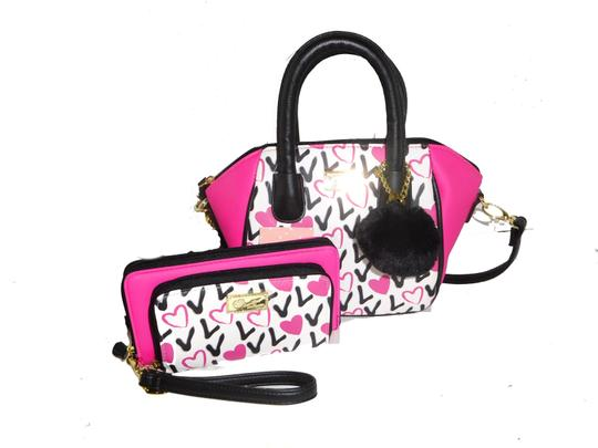 Preload https://img-static.tradesy.com/item/23332315/betsey-johnson-luv-betsey-wallet-cross-body-fuchsia-black-faux-leather-satchel-0-0-540-540.jpg