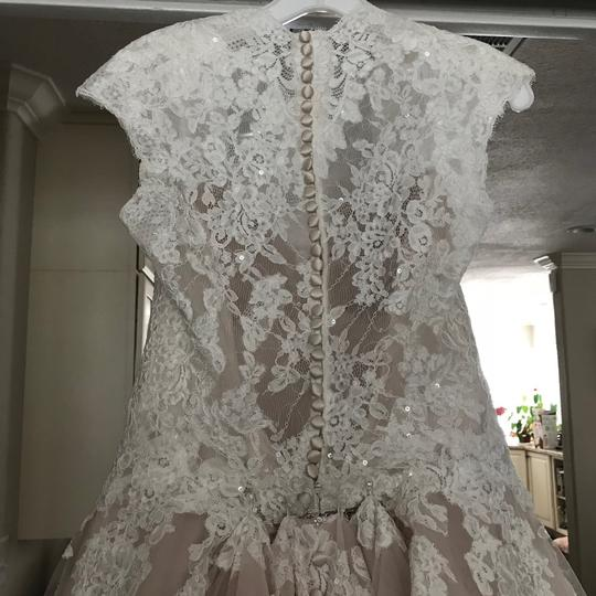 Allure Bridals Ivory and Champagne Majority-tool with Lace Grown - Never Worn Altered Formal Wedding Dress Size 14 (L)