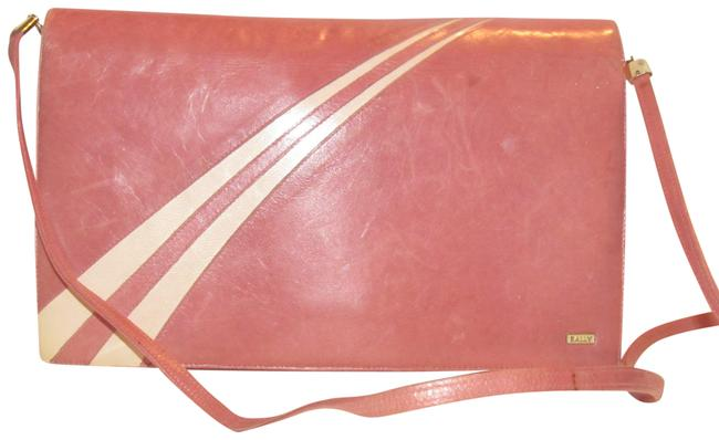 Bally Vintage Purses/Designer Purses Pink Leather with White Striped Accents Shoulder Bag Bally Vintage Purses/Designer Purses Pink Leather with White Striped Accents Shoulder Bag Image 1