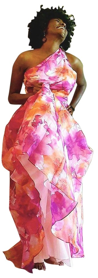 Carmen Marc Valvo Multi/Pink Organdy Infusion Draped Gown Long ...