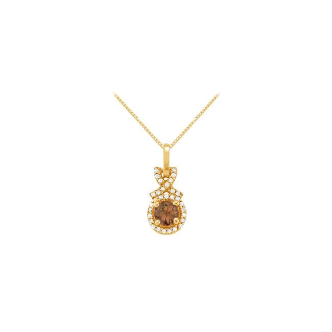 Brown Yellow June Birthstone Smoky Quartz with Cz Halo Pendant Gold Vermeil Necklace Brown Yellow June Birthstone Smoky Quartz with Cz Halo Pendant Gold Vermeil Necklace Image 1