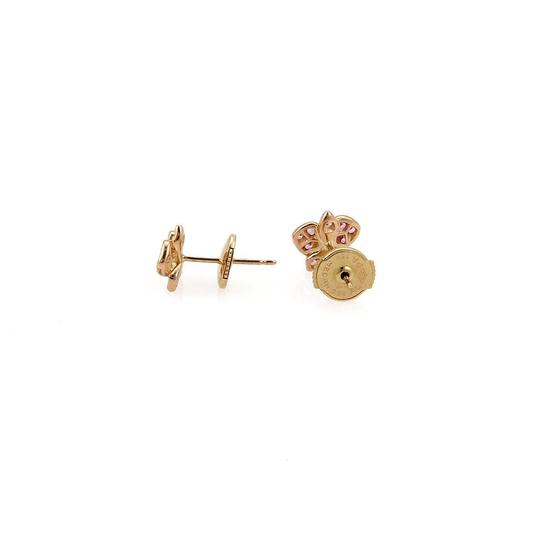 Cartier Caresse d'Orchidees Sapphire Diamond 18k Rose Gold Stud Earrings Cert.