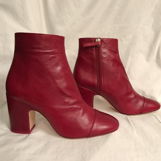 Zara Leather Ankle Distressed Block Red Boots