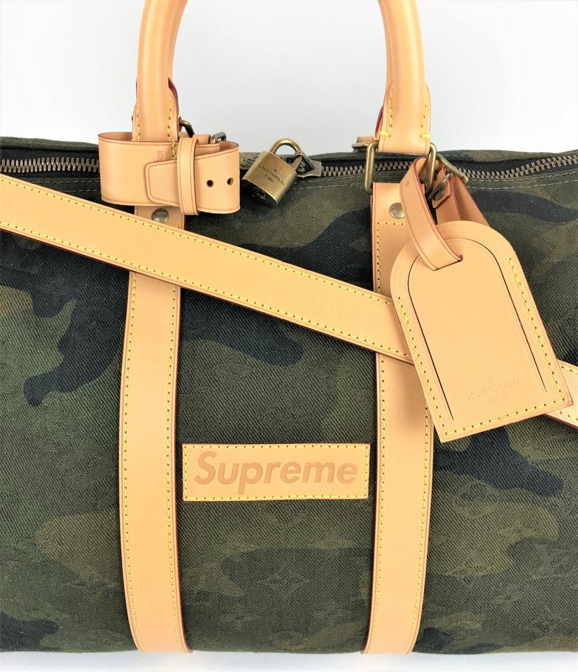 bdd7a1c113a6 Louis Vuitton x Supreme Monogram Camouflage Keepall 45 Bandouliere Green  Canvas Weekend Travel Bag - Tradesy