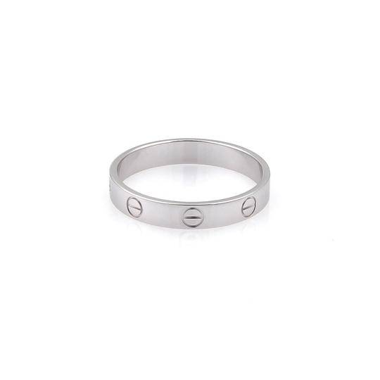 Cartier Mini Love 18k White Gold 3.5mm Band Ring Size EU 60-US 9 w/Cert.