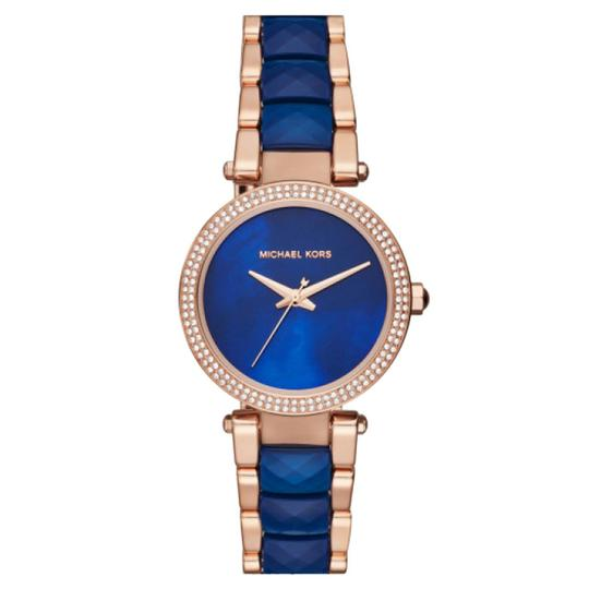 Preload https://item4.tradesy.com/images/michael-kors-navy-rose-gold-mini-parker-rose-gold-tone-and-acetate-mk6527-watch-23332533-0-1.jpg?width=440&height=440