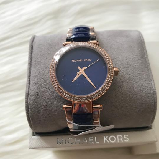 Michael Kors NWT Mini Parker Rose Gold-Tone and Navy Acetate MK6527