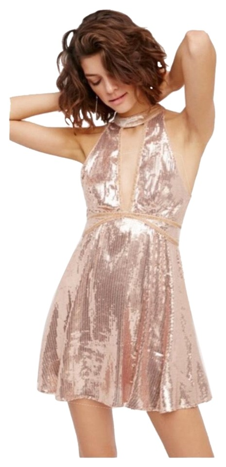 6aa82e612937 Free People Pink Gold Film Noir Sequin Mini Short Cocktail Dress ...