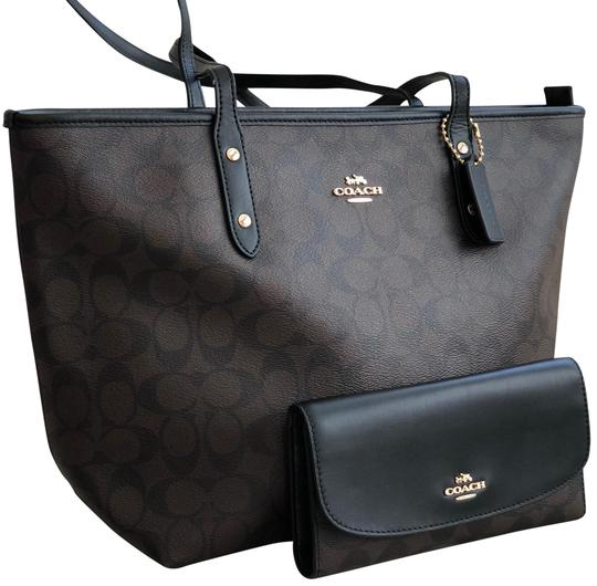 Preload https://item5.tradesy.com/images/coach-city-zip-in-signature-f58292-and-wallet-brownblack-canvas-tote-23332559-0-1.jpg?width=440&height=440