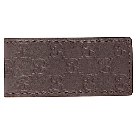 Gucci NEW Gucci Men's Guccissima Magnetic Leather Square Money Clip Brown