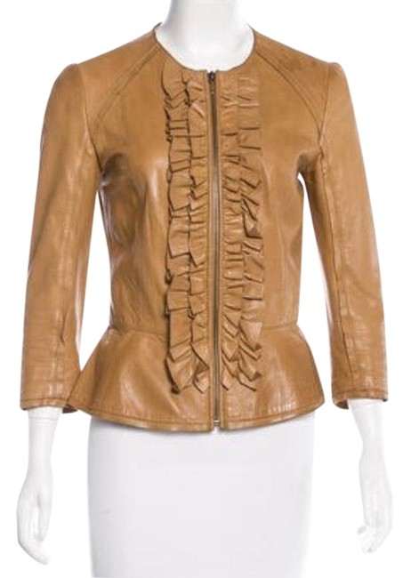 Preload https://item2.tradesy.com/images/tory-burch-tan-camel-with-scoop-neck-three-quarter-sleeves-and-ruffle-accents-at-front-featuring-zip-23332626-0-1.jpg?width=400&height=650