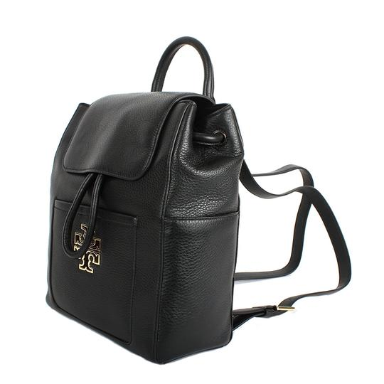 Preload https://item4.tradesy.com/images/tory-burch-black-gold-logo-leather-backpack-23332638-0-1.jpg?width=440&height=440
