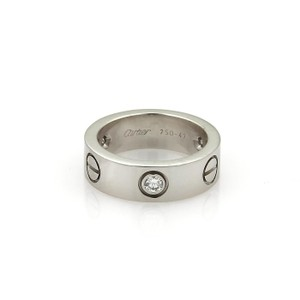 Cartier Love 3 Diamond 18k White Gold 5.5mm Band Ring Size EU 47-US 4 Cert