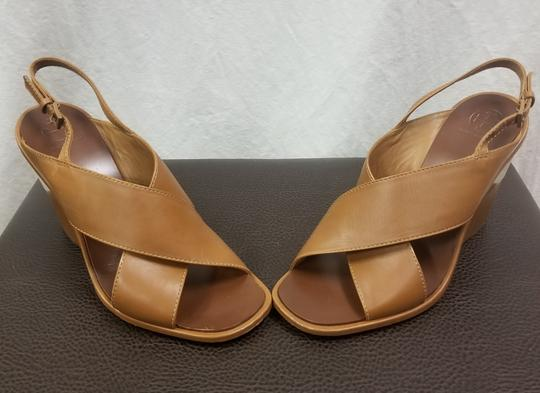 Tory Burch Sandal Leather Royal Tan Wedges
