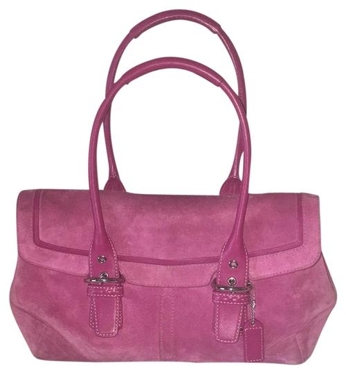Preload https://item5.tradesy.com/images/coach-pink-suede-leather-satchel-23332699-0-1.jpg?width=440&height=440