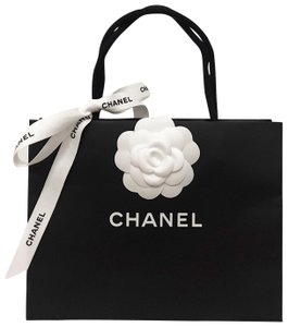 1d80a2c2001c Chanel CHANEL Small Black Shopping Bag with Camellia and Designer Ribbon