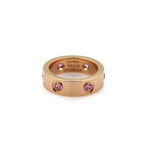 Cartier Love 6 Pink Sapphire 18k Rose Gold 5.5mm Band Ring Size 49-US 4.75 Cer