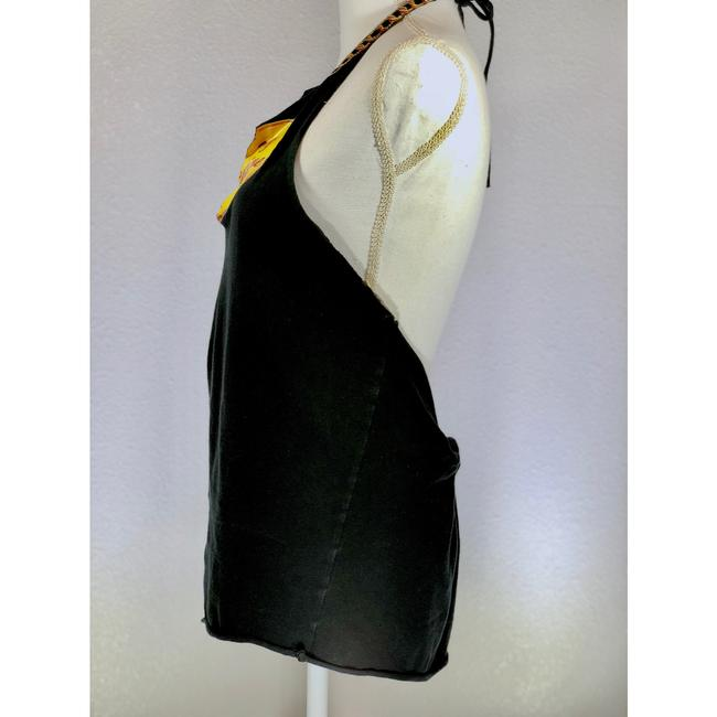 Chloé Rocker Distressed Rare Festival Black Yellow Red Halter Top
