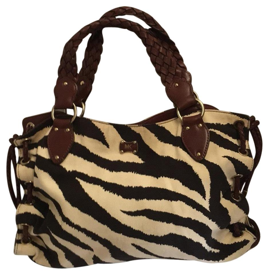 039d5ca1f44521 MICHAEL Michael Kors Zebra Print Tote Brown Canvas and Leather ...