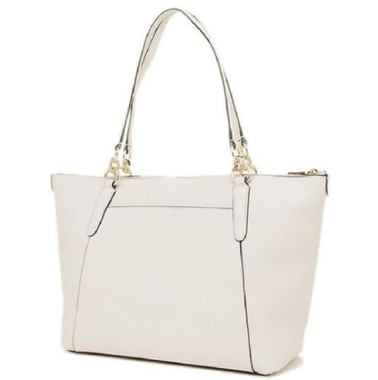 Coach Satchel Leather Satchel Handbag F57526 Chalk Tote in white