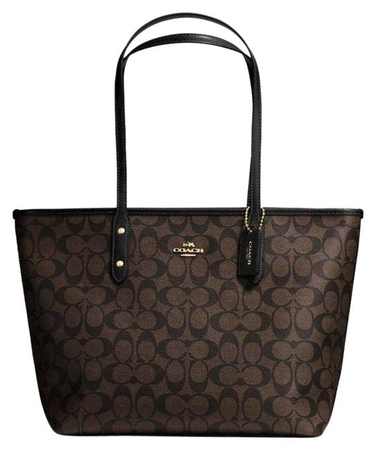 Coach City Zip In Signature Coated F58292 Brown/Black Canvas Tote Coach City Zip In Signature Coated F58292 Brown/Black Canvas Tote Image 1