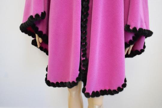 unbranded Designer 100% Pink Wool genuine Brown Mink Shawl/Wrap Size Large eb