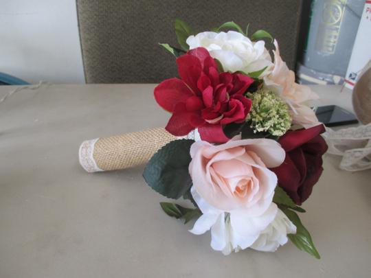 Wine Blush Ivory Burgundy Bridal Bouquet with Burlap Handle Ceremony Decoration